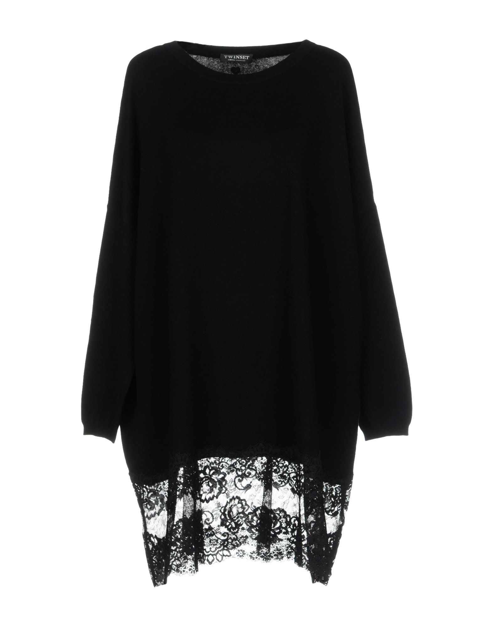 Twinset Black Cotton Knit Jumper With Lace Insert