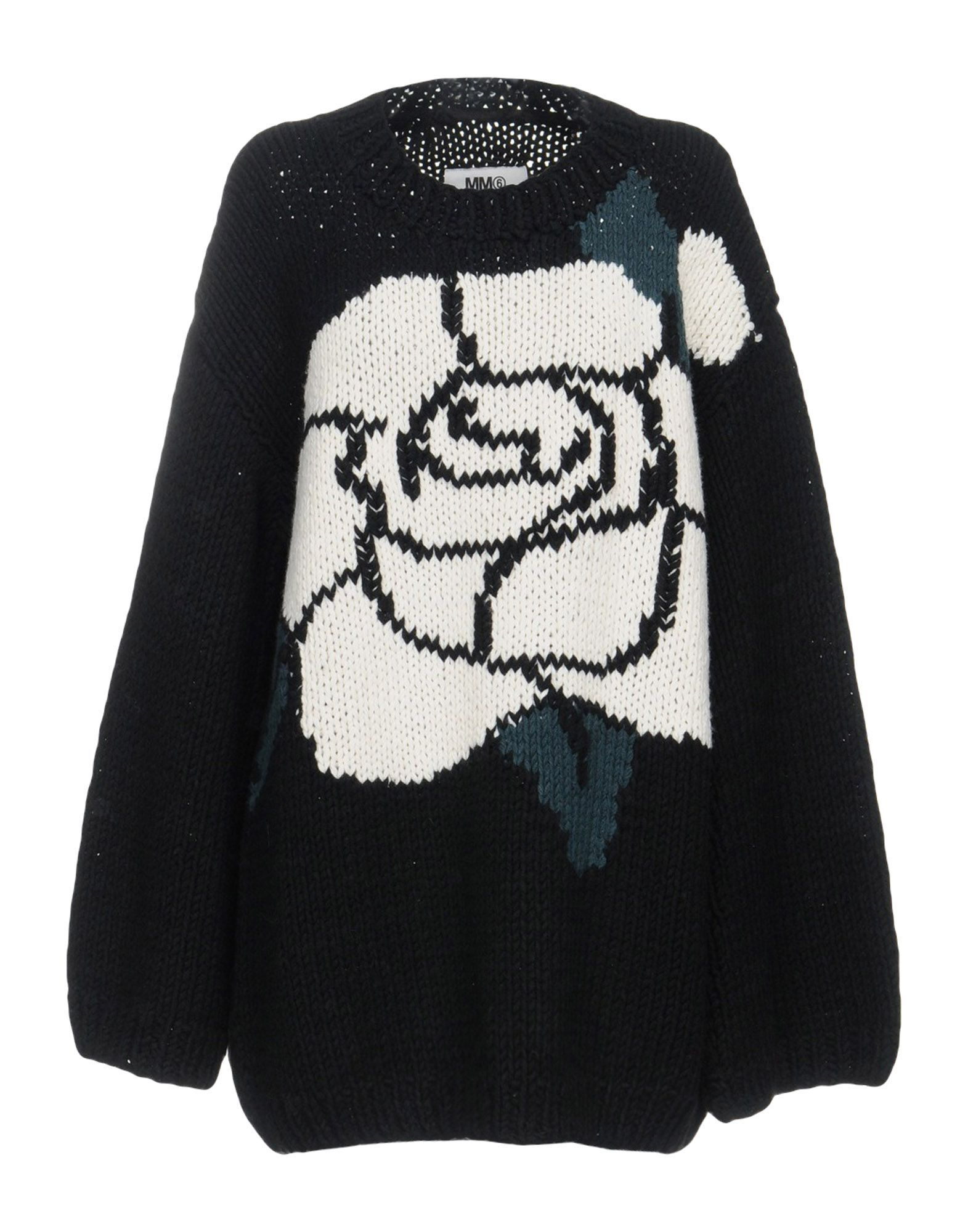 MM6 Maison Margiela Black Wool Floral Design Jumper