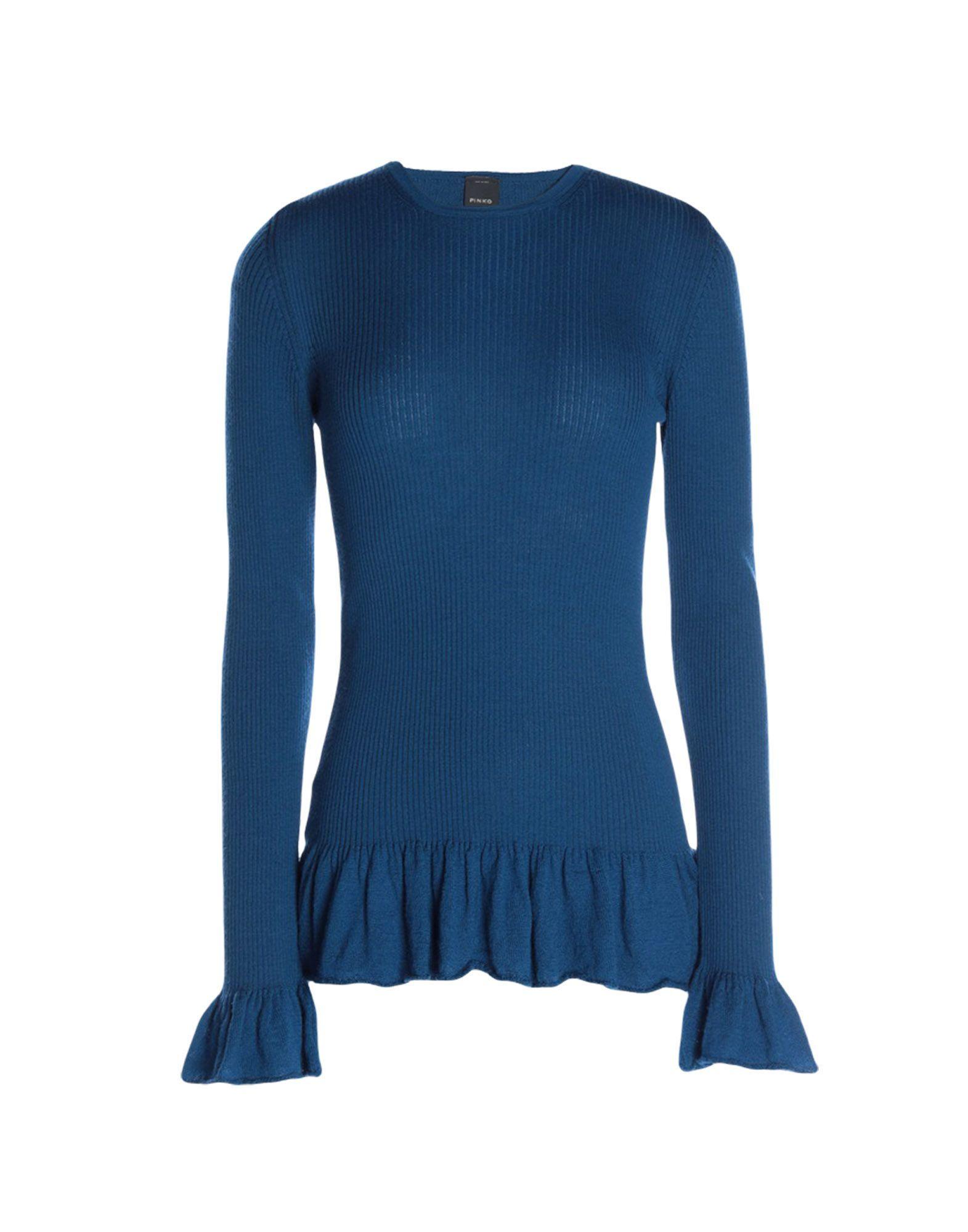 Pinko Blue Wool Ruffle Jumper