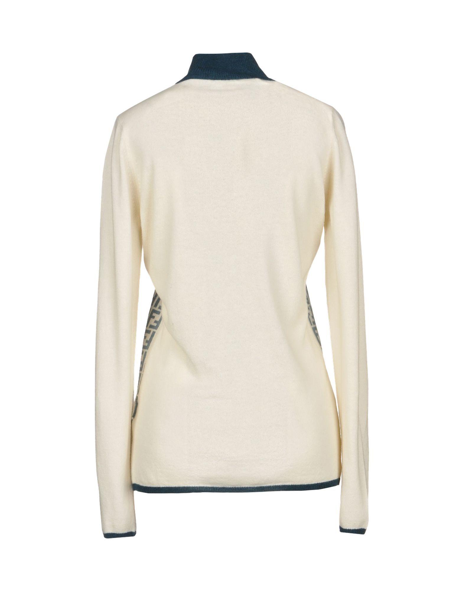 Fendi Ivory Logo Wool Knit Cardigan