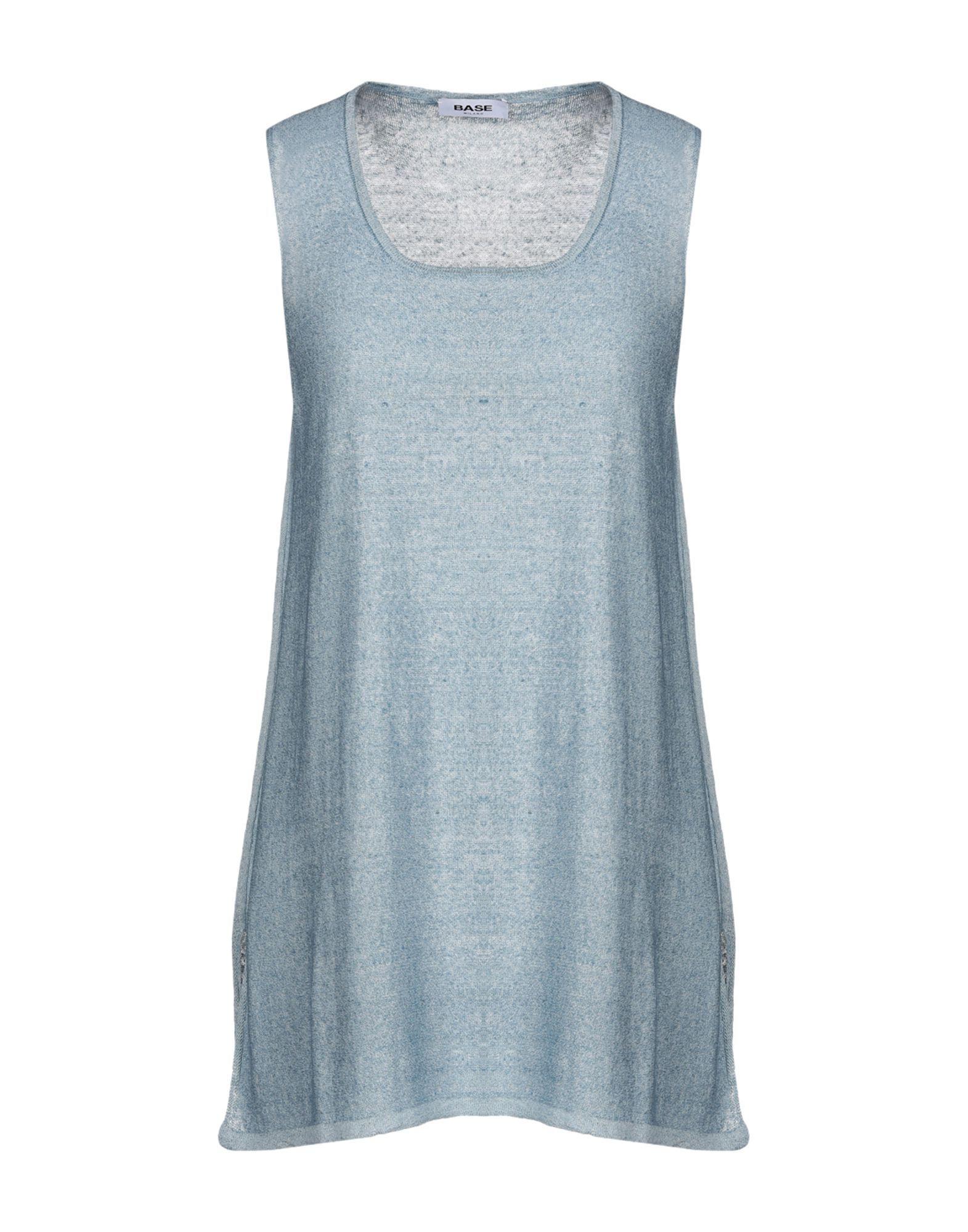 Base Pastel Blue Linen Knit Tank