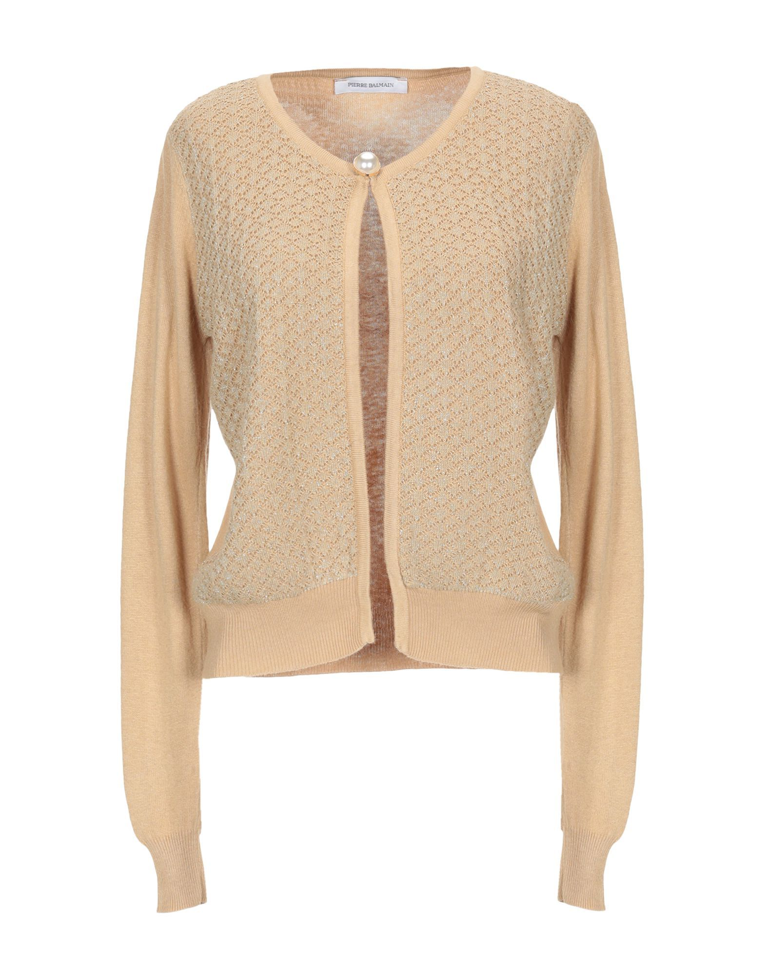 Pierre Balmain Sand Knit Cardigan With Brooch Detail