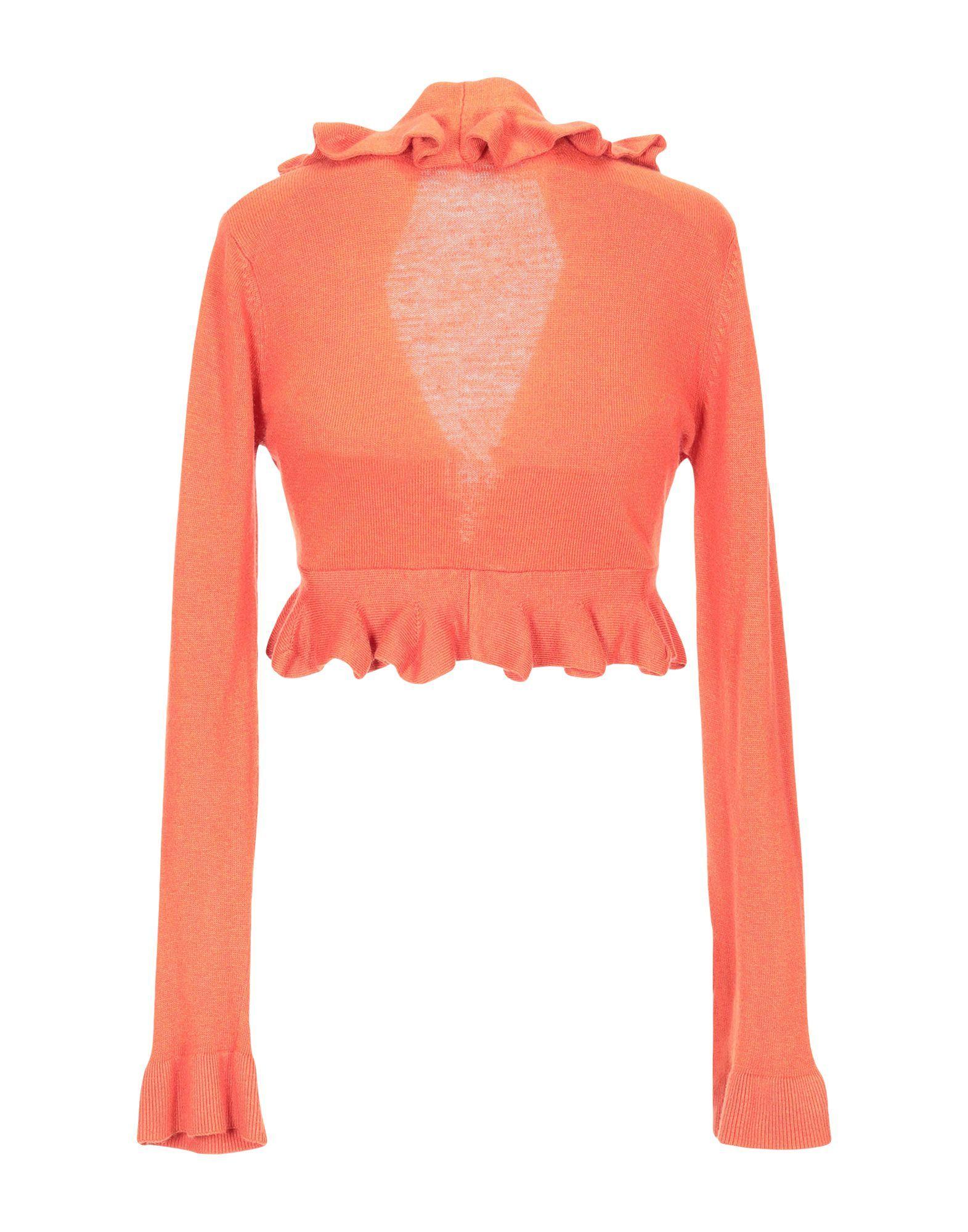 Pierre Balmain Orange Ruffle Knit Cardigan