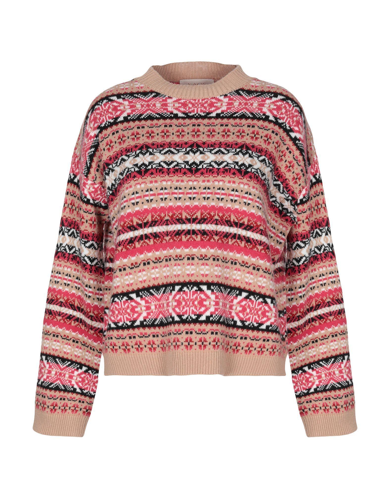 Kaos Jeans Camel Fairisle Pattern Knit Jumper