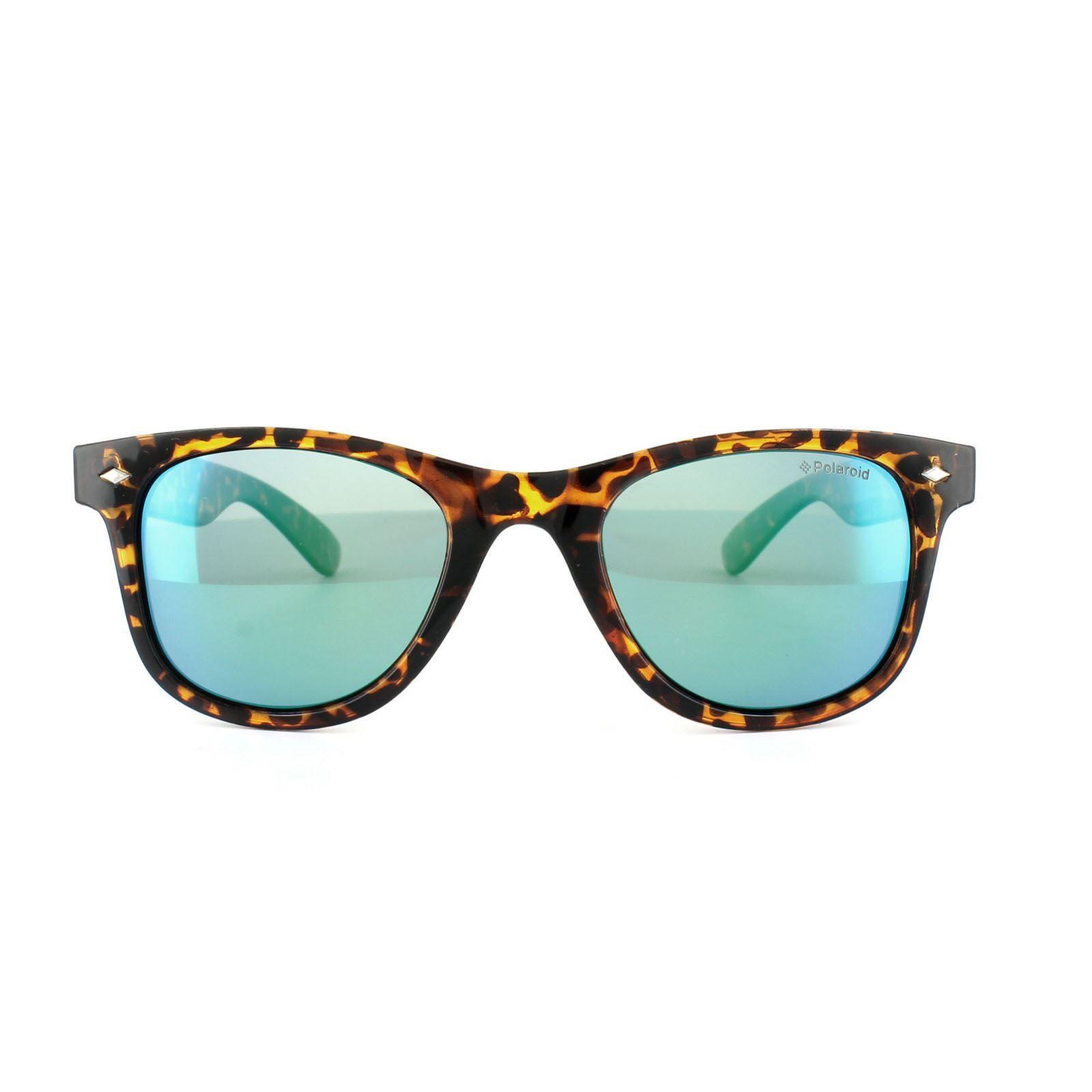 Polaroid Sunglasses 6009/S M V08 K7 Havana Green Blue Mirror Polarized