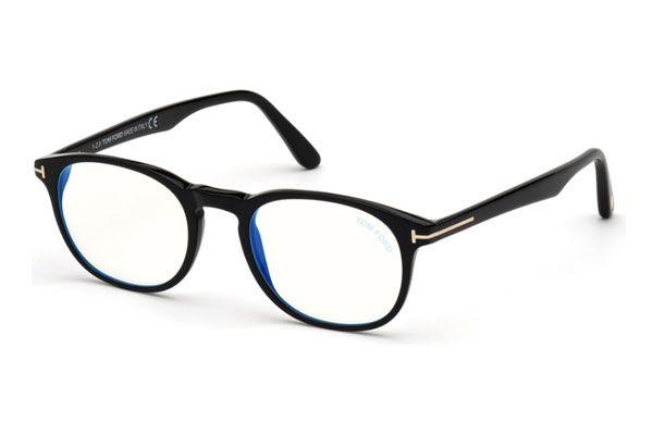 Tom Ford Round plastic Men Eyeglasses Shiny black / Clear Lens