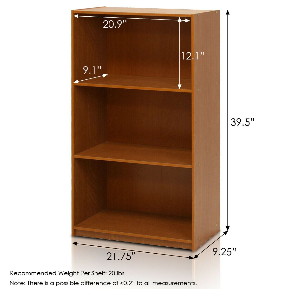 Furinno Basic 3 Tier Bookcase Storage Shelves, Light Cherry,Decorations