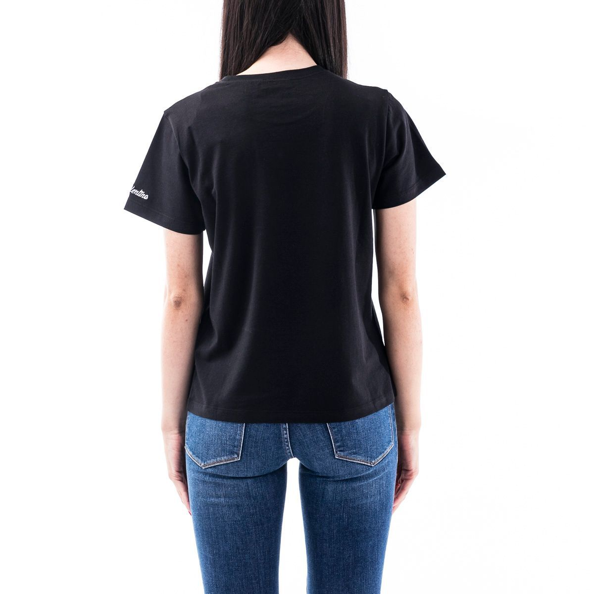 RED VALENTINO WOMEN'S TR0MG06P5490NO BLACK COTTON T-SHIRT
