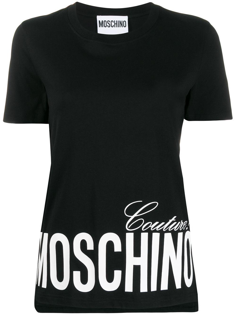 MOSCHINO WOMEN'S A070305401555 BLACK COTTON T-SHIRT