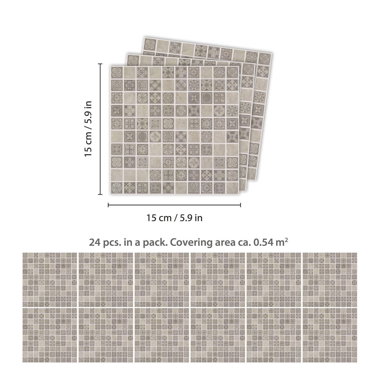Limestone Antique Azulejo Mosaic Wall Tile Sticker Set - 15cm (6inch) - 24pcs one pack Self Adhesive DIY Wall Sticker