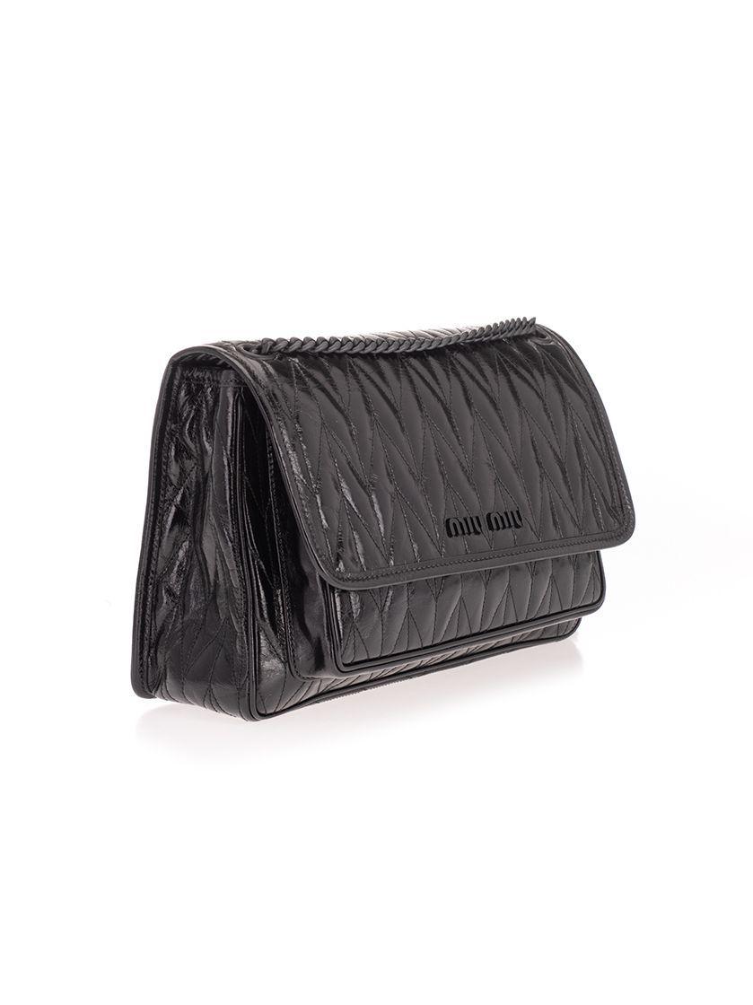 MIU MIU WOMEN'S 5BD1602D6CF0002 BLACK LEATHER SHOULDER BAG