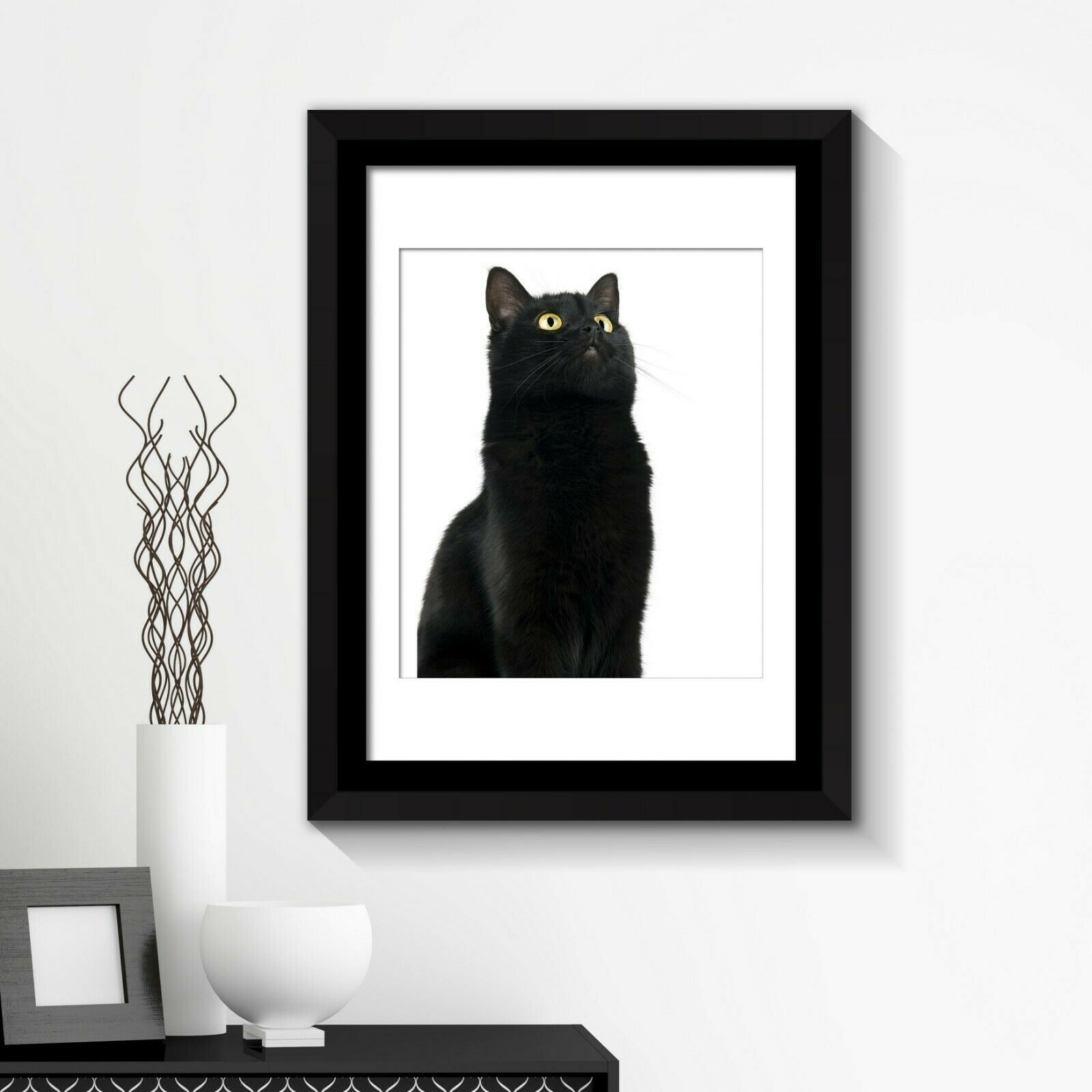 Combo of  Framed Art 2in1 Cute Black Cat Poster Framed Photo, Framed Art