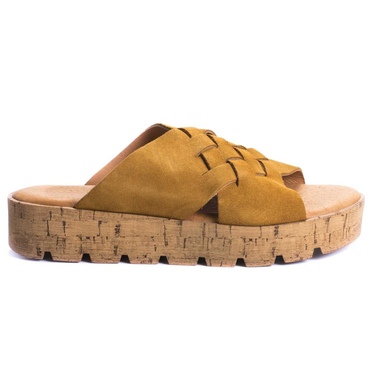 Purapiel Woven Flatform Sandal in Camel