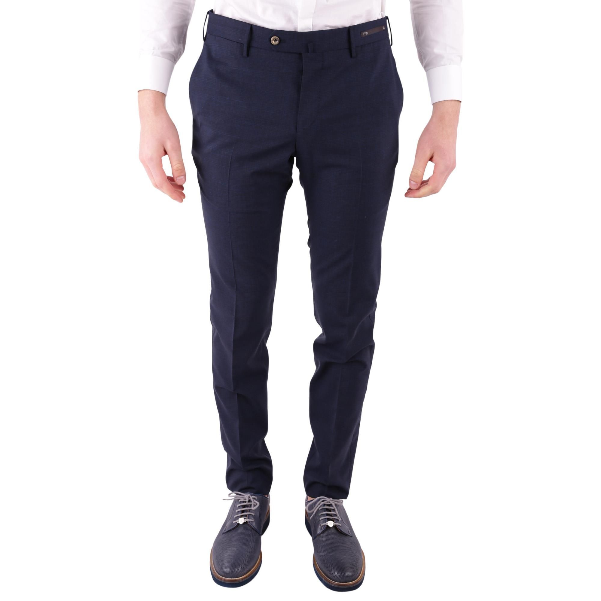 PT01 MEN'S DSTVZ00NTVPO480350 BLUE COTTON PANTS