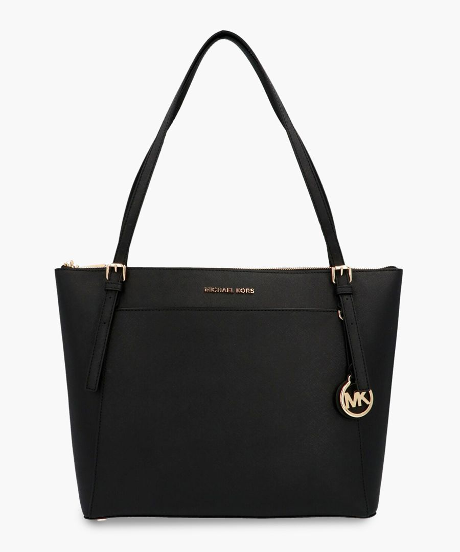 Voyager black leather tote