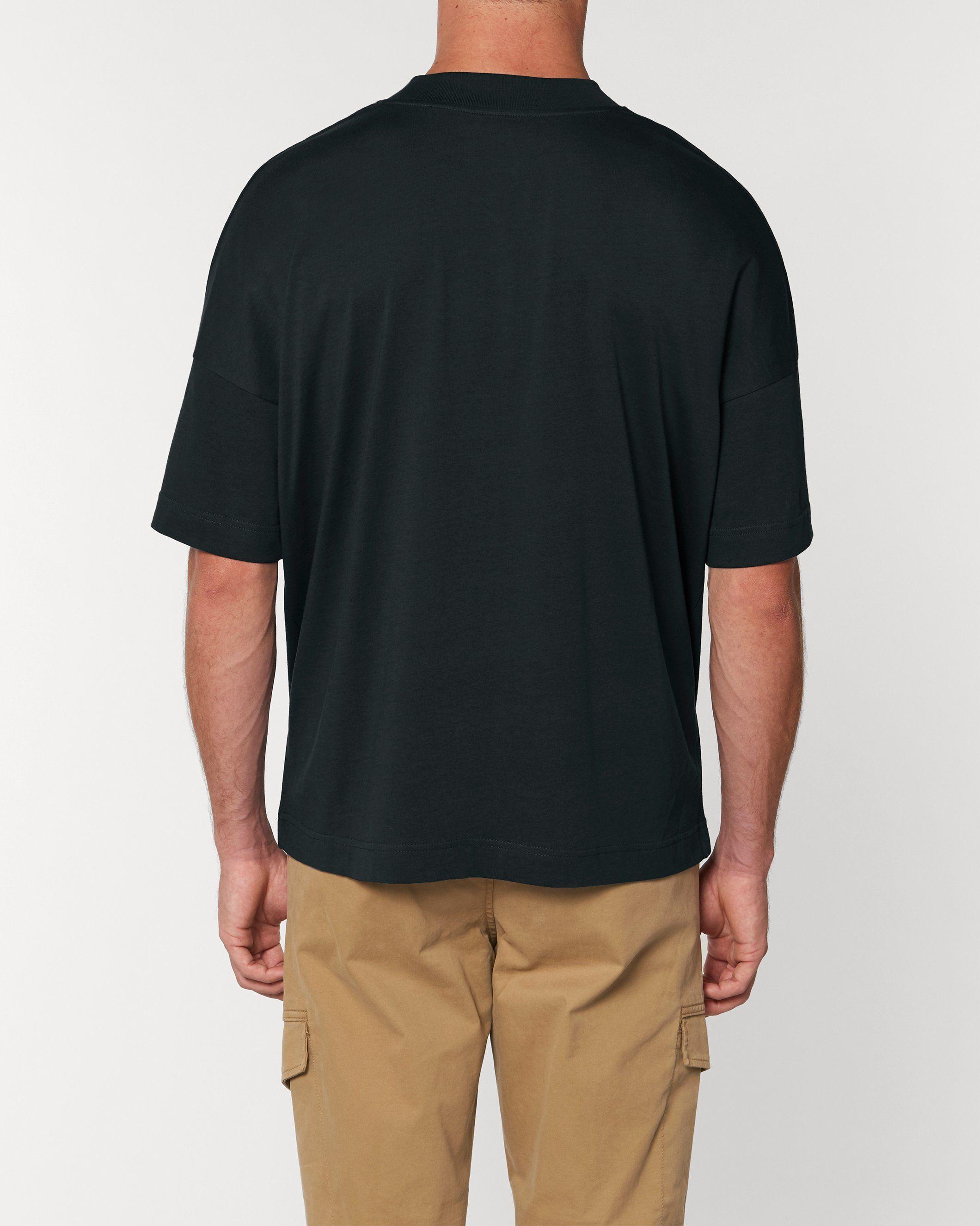 Mantra Unisex Oversized High Neck T-Shirt in Black