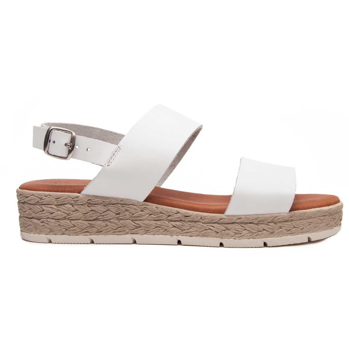 Leindia Double Strap Flat Sandal in White