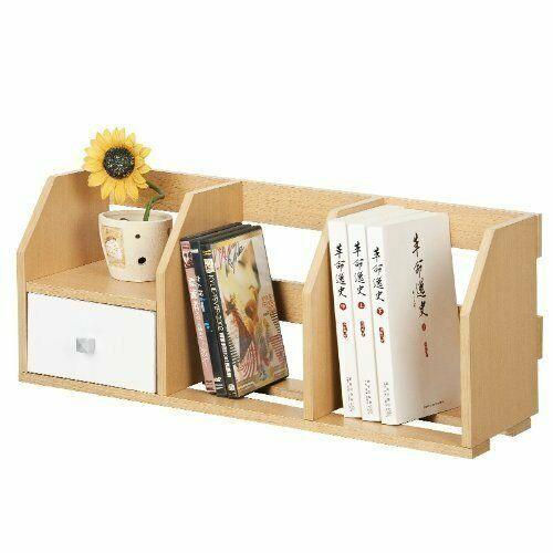 Furinno Pasir 12247SBE/WH Desk Storage Shelf w/Bin, Steam Beech/White