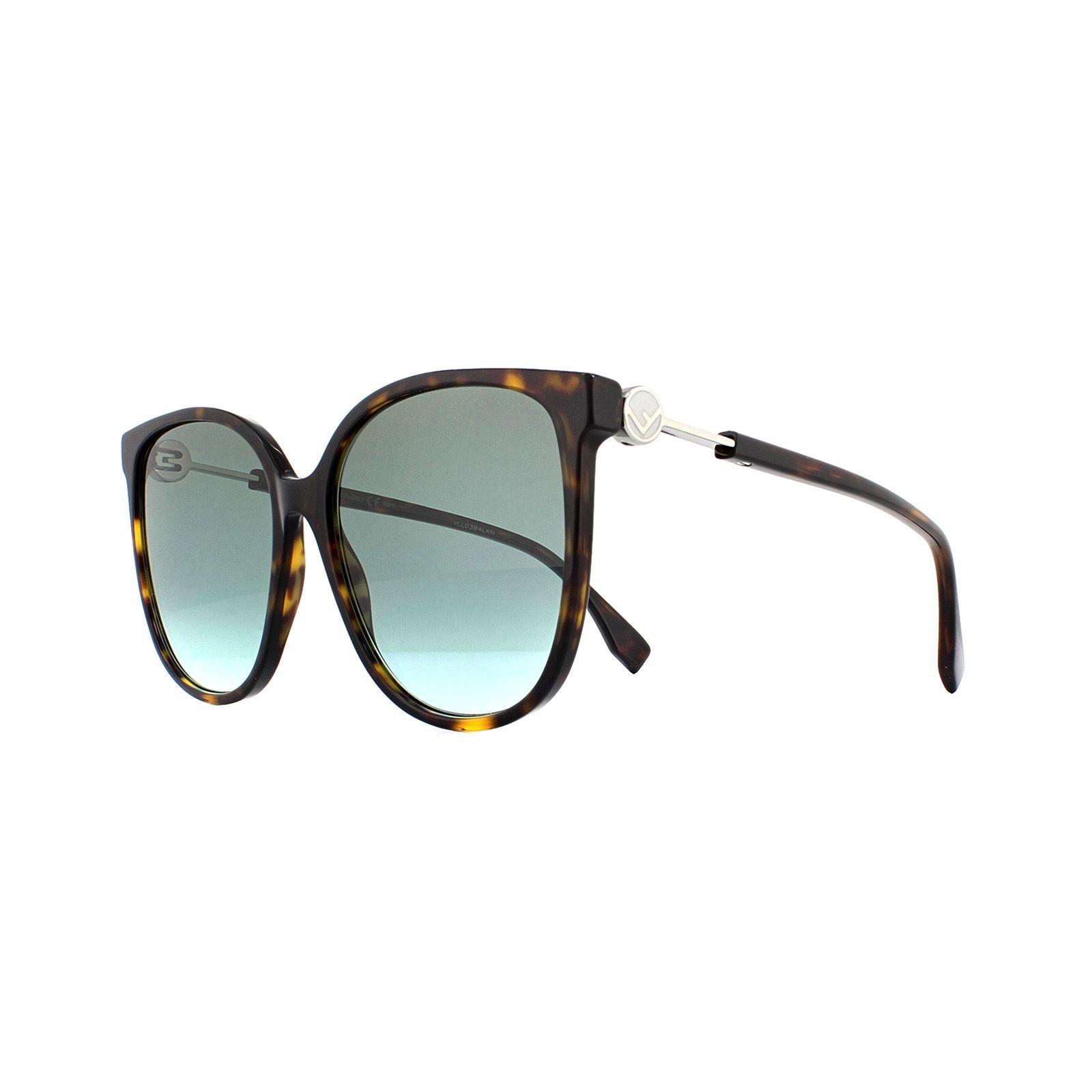 Fendi Sunglasses FF 0374/S 086 EQ Dark Havana Green Aqua