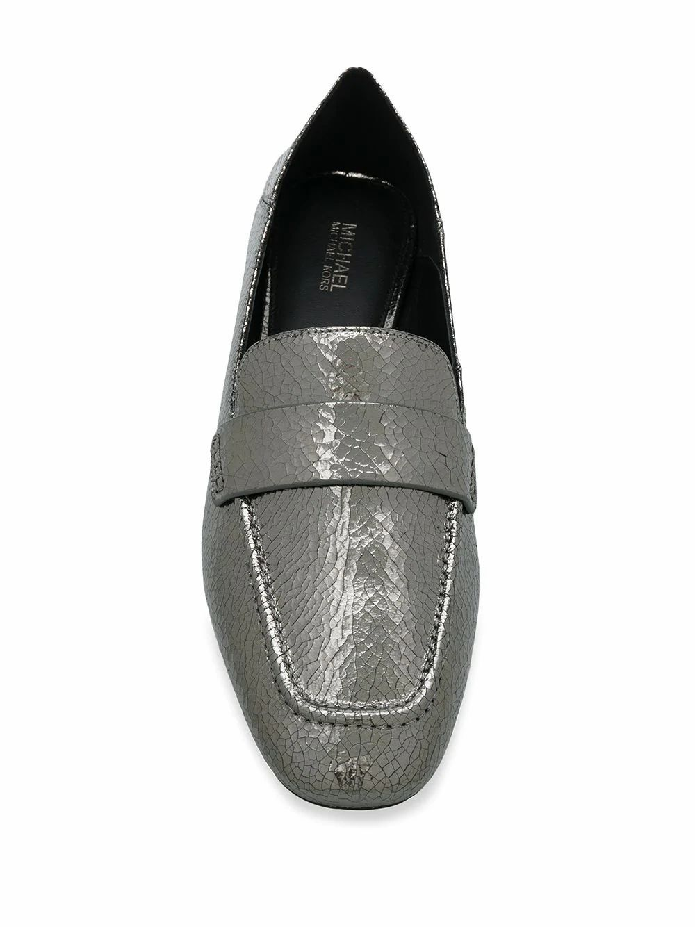 MICHAEL KORS WOMEN'S 40R0EMFR1M992 SILVER FAUX LEATHER LOAFERS