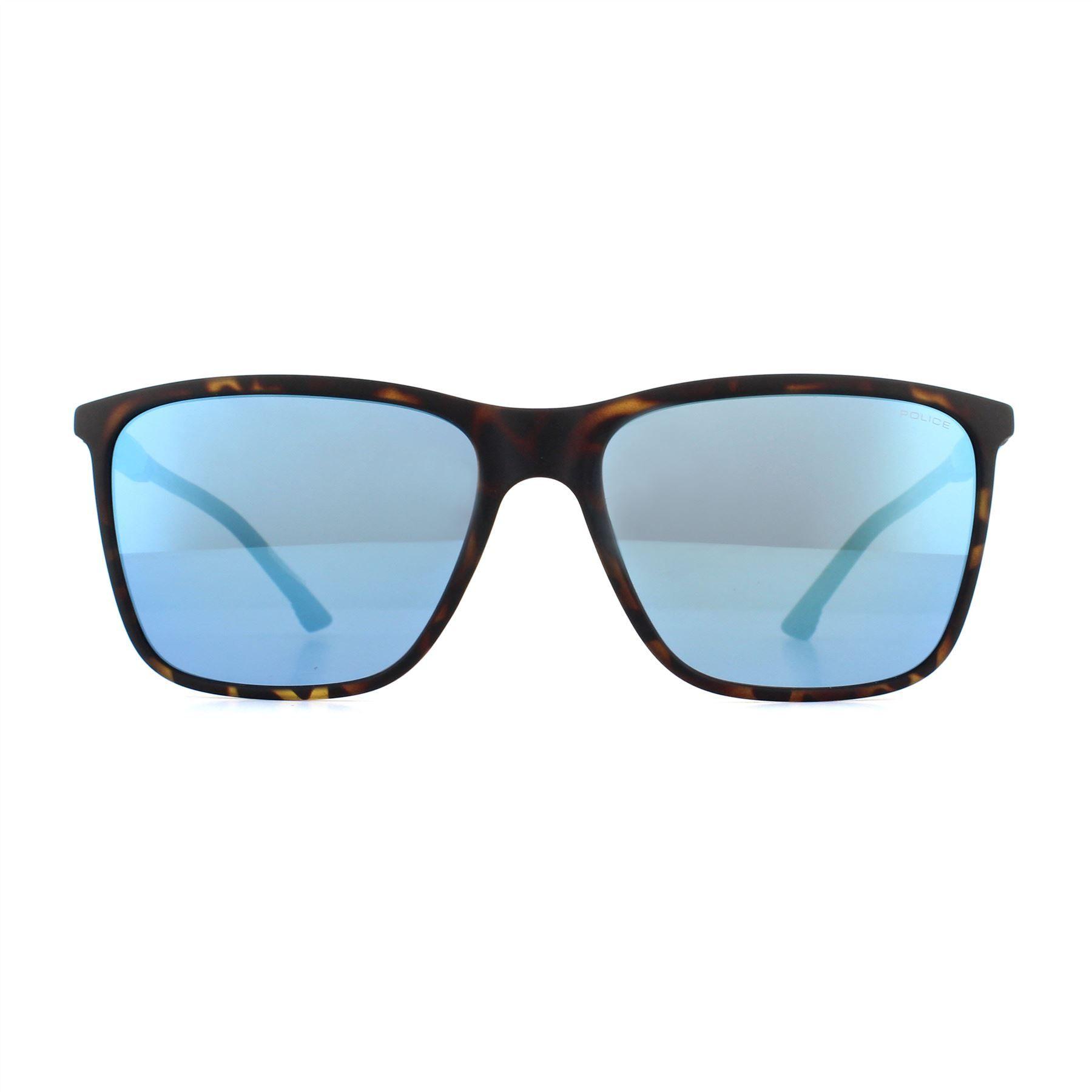 Police Sunglasses SPL716 Storm Light 1 878B Dark Havana & Blue Blue Mirror