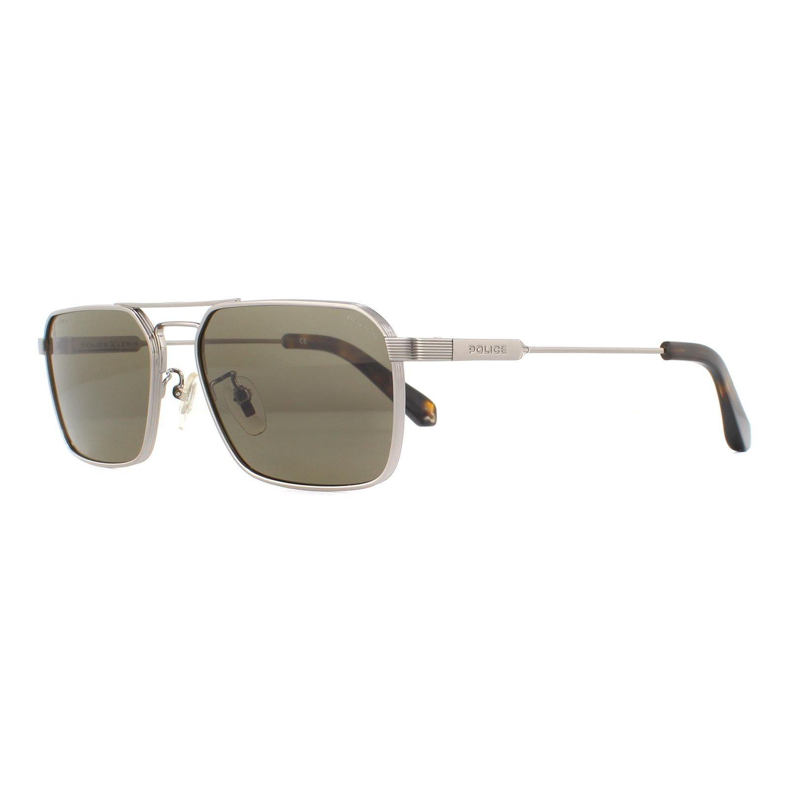 Police Sunglasses SPLA23 Lewis Hamilton 0509 Shiny Ruthenium Brown