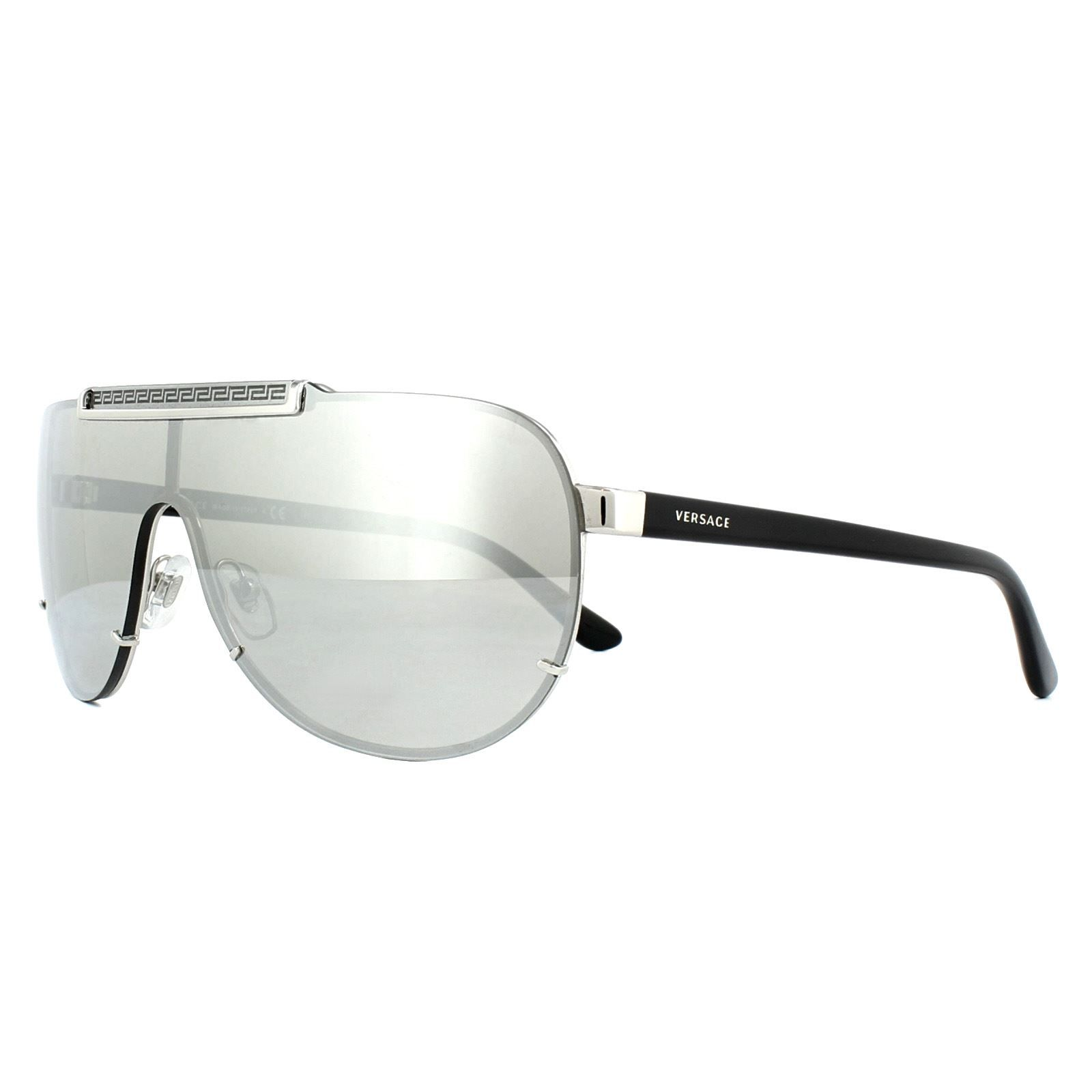 Versace Sunglasses VE2140 10006G Silver Light Grey Silver Mirror