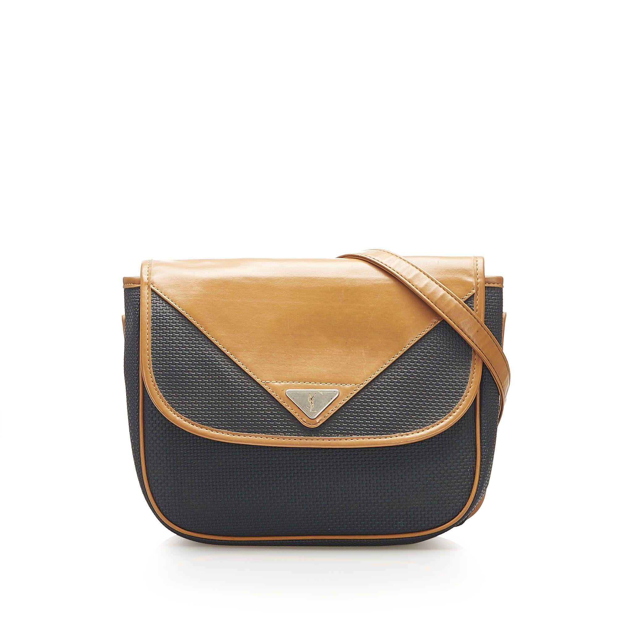 Vintage YSL Leather Crossbody Bag Brown