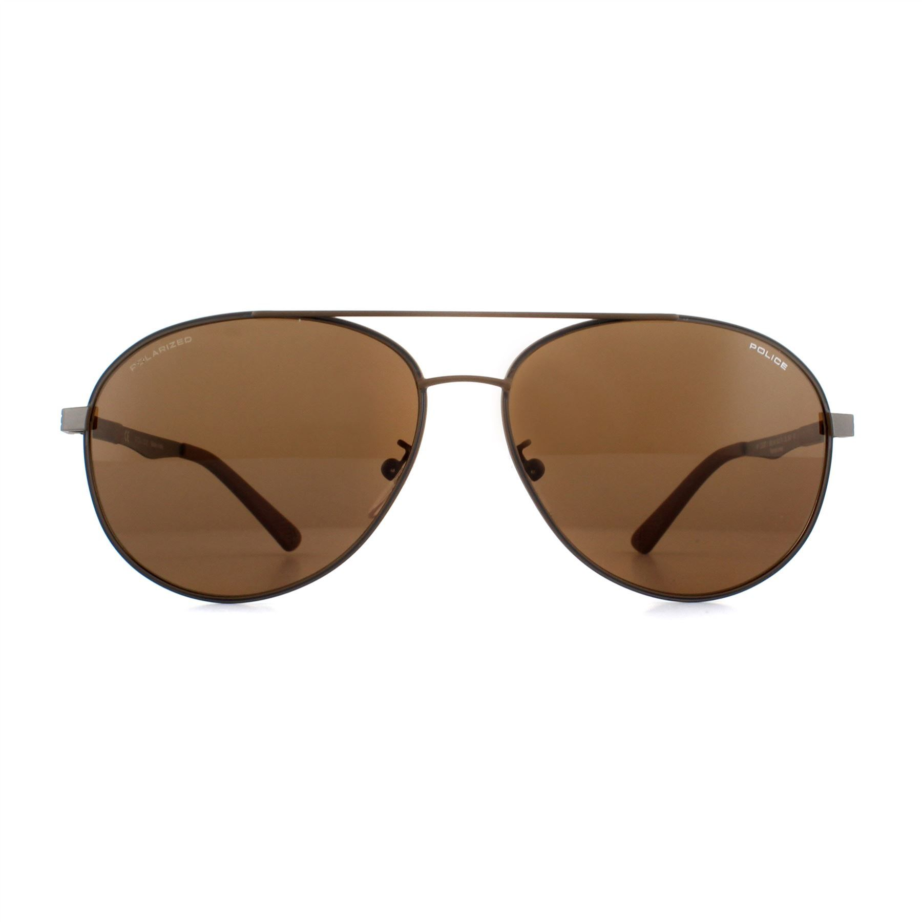 Police Sunglasses Court 2 SPL344 90LP Matte Brown Grey Brown Flash