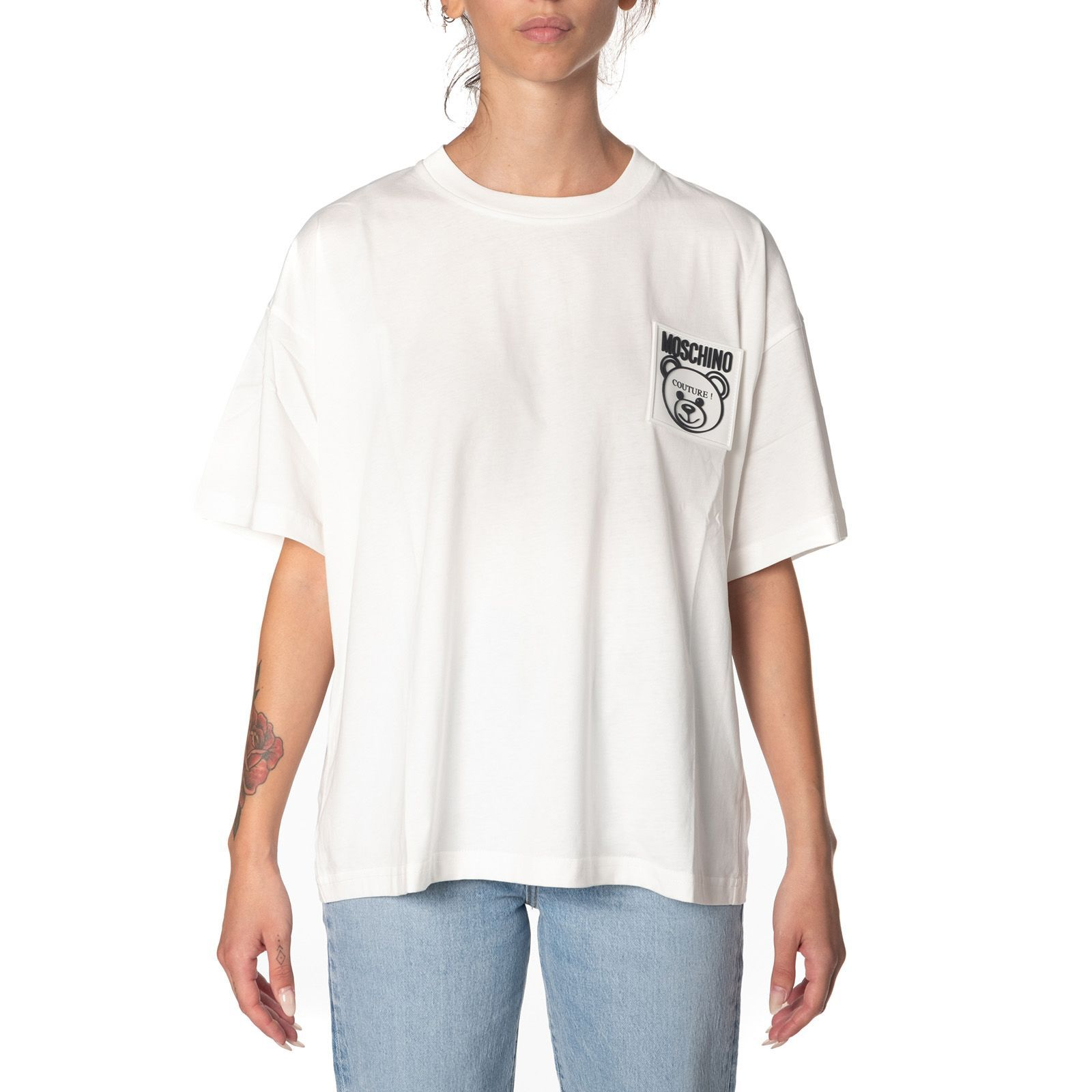 MOSCHINO WOMEN'S A070454400002 WHITE COTTON T-SHIRT