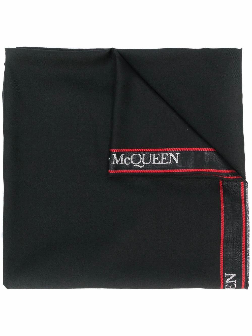 ALEXANDER MCQUEEN MEN'S 5959504807Q1074 BLACK WOOL SCARF