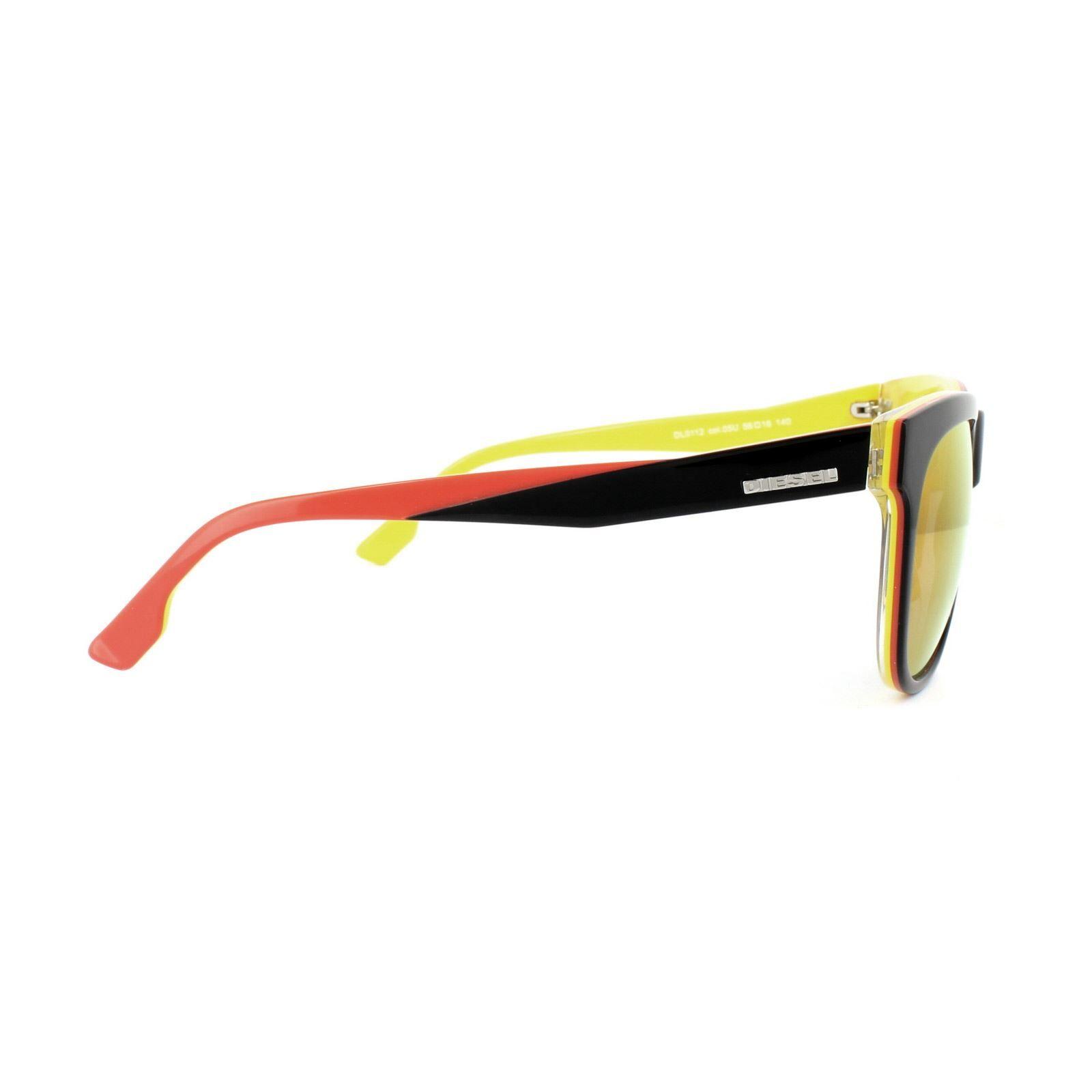 Diesel Sunglasses DL0112 05U Black Red & Yellow Red Mirror