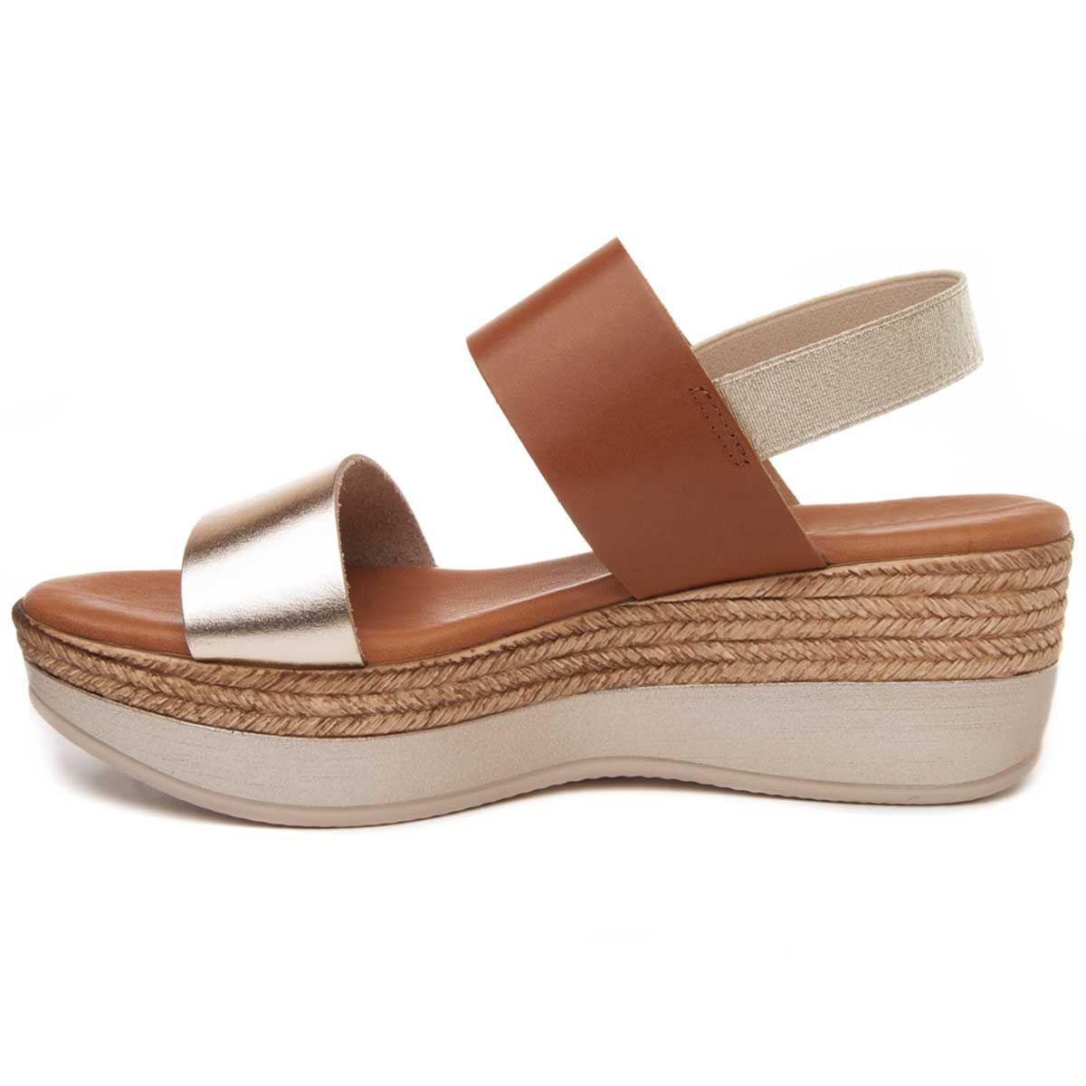 Purapiel Flatform Sandal in Brown