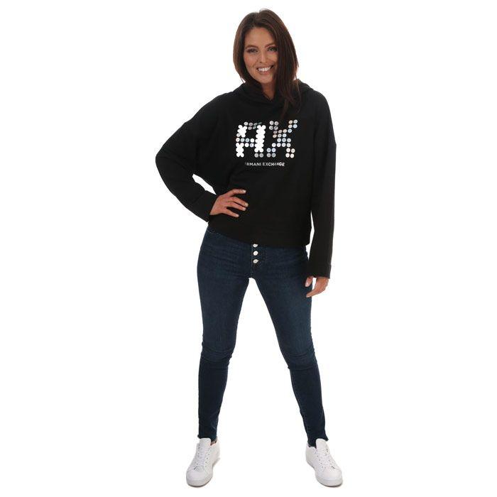 Women's Armani Flared Hoodie in Black