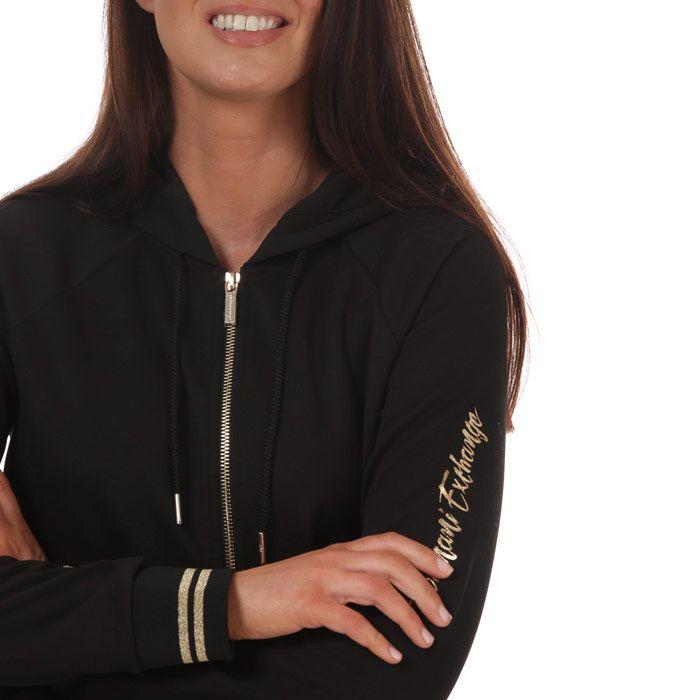 Women's Armani Zip Hoodie in Black
