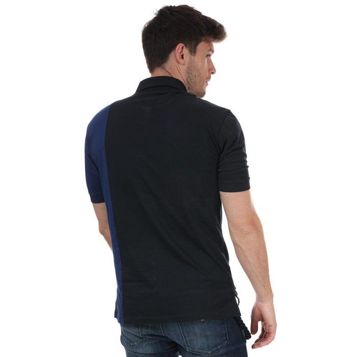 Men's Armani Three Colour lettering Polo Shirt in White Navy