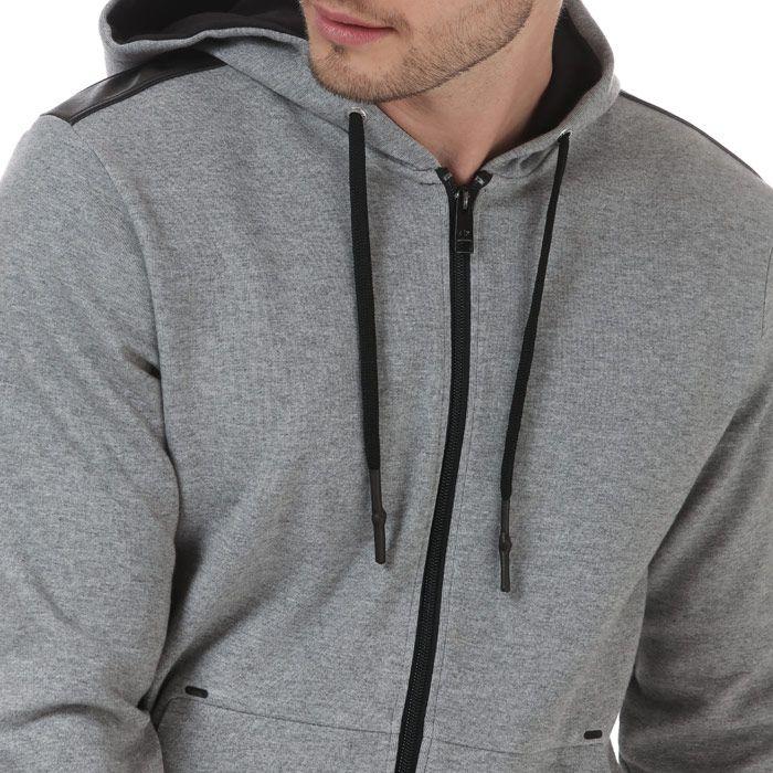 Men's Armani Contrast Lettering Zip Hoodie in Grey