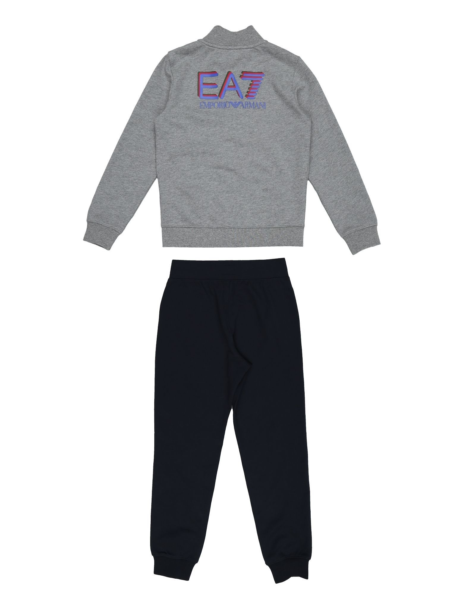 EA7 Grey Cotton Sweatshirt And Joggers Set