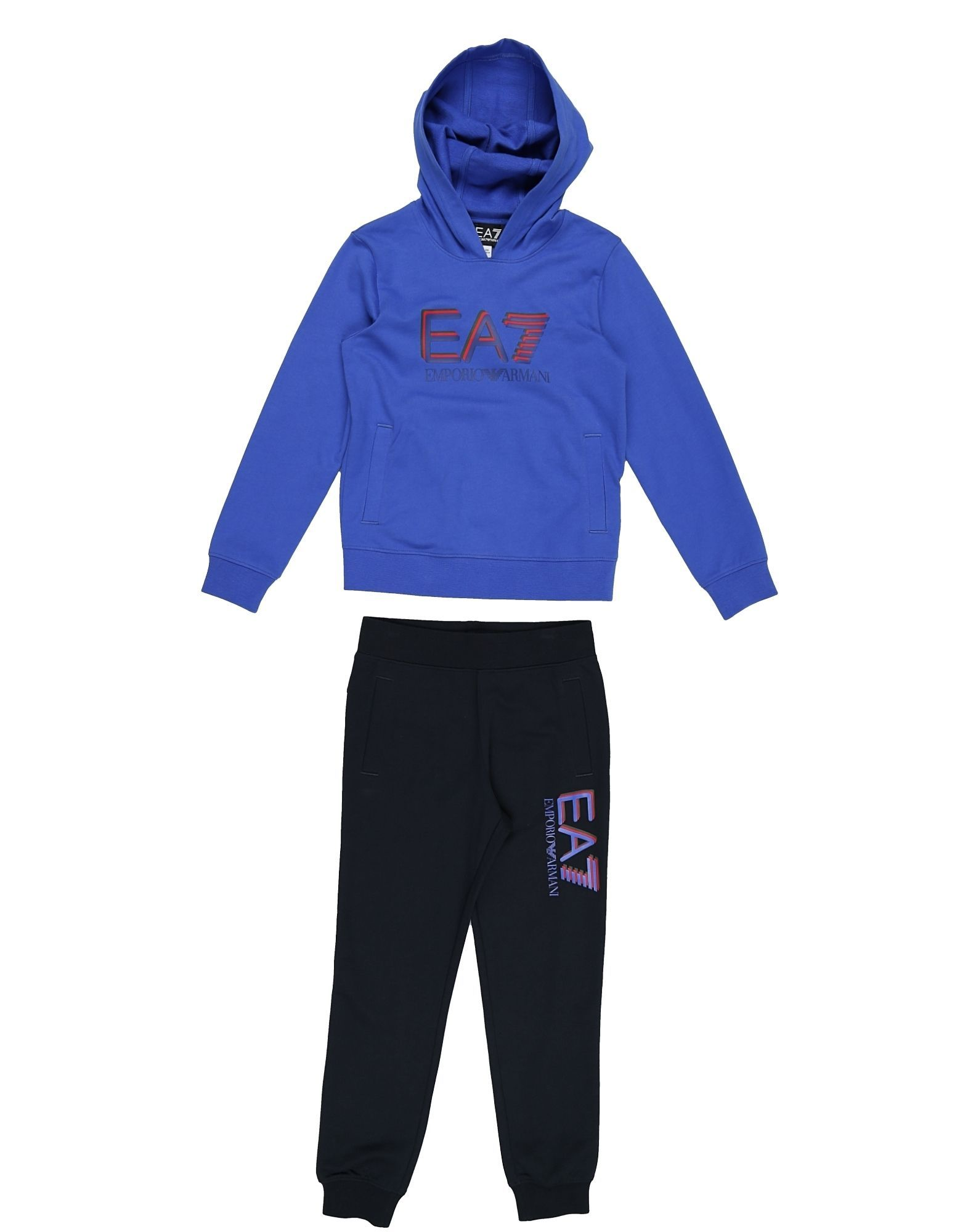 EA7 Blue Cotton Hoodie And Joggers Set