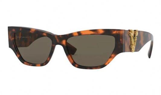Versace Rectangular plastic Women Sunglasses Havana / Brown