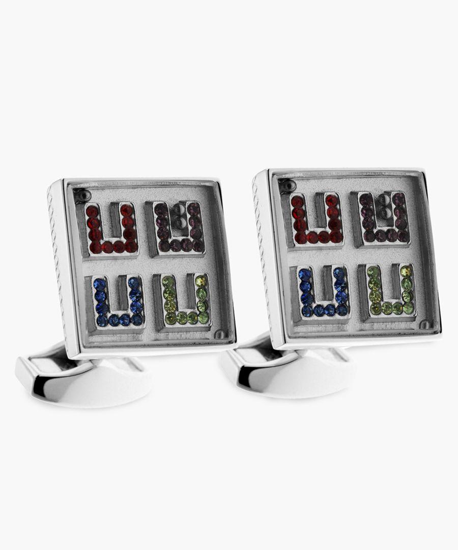 Maze Square rhodium and swarovski crystals cufflinks
