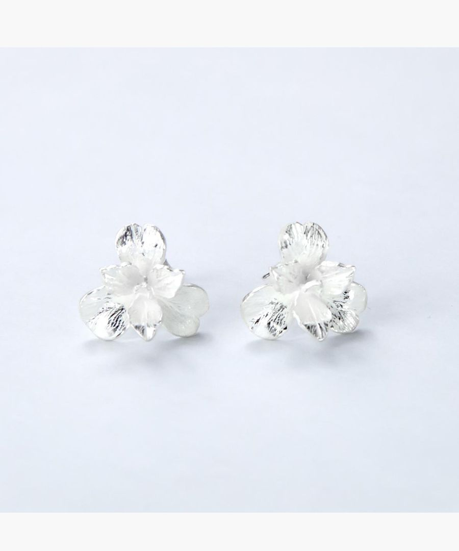 Sterling silver pansy earrings