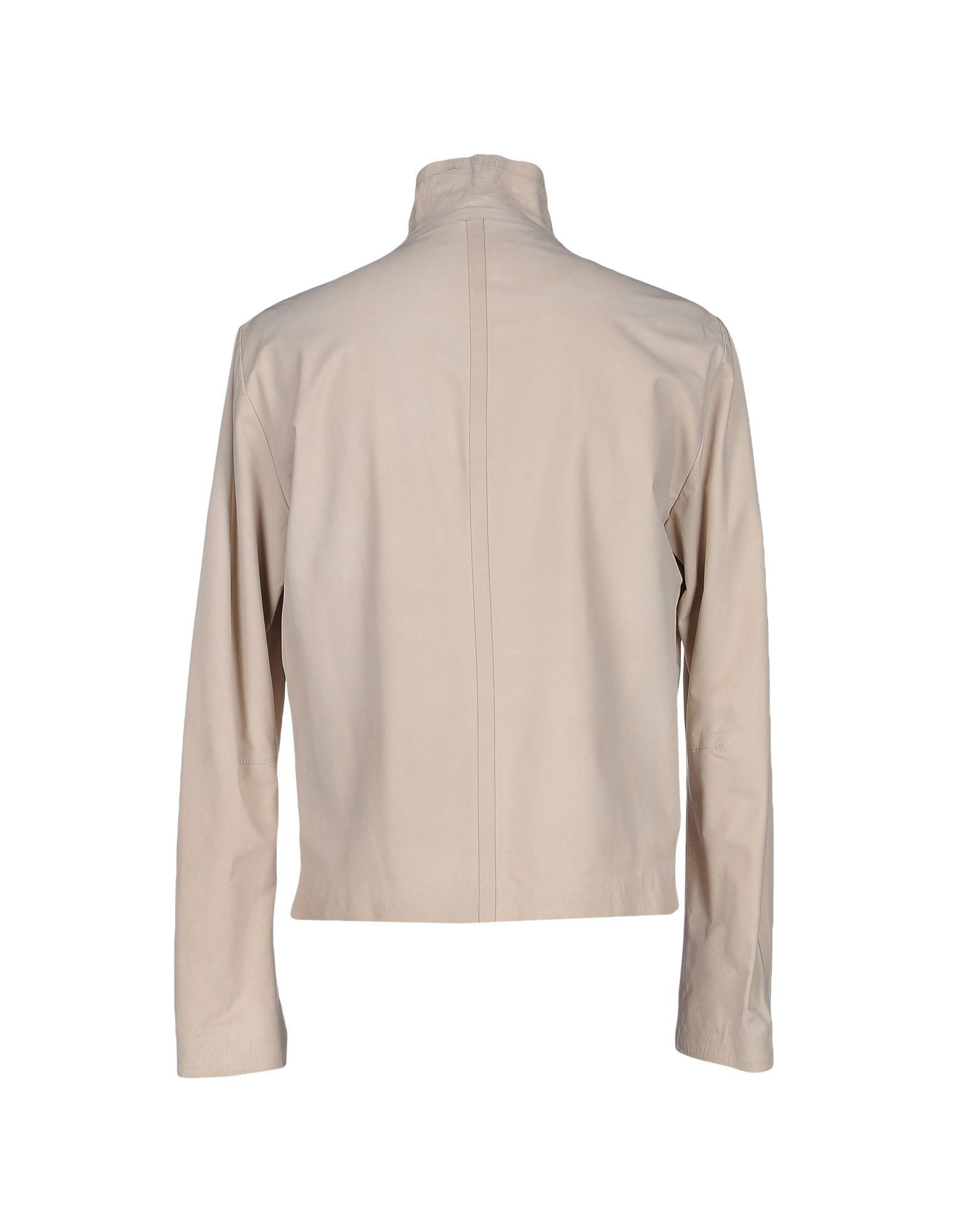 Emporio Armani Ivory Calf Leather Jacket