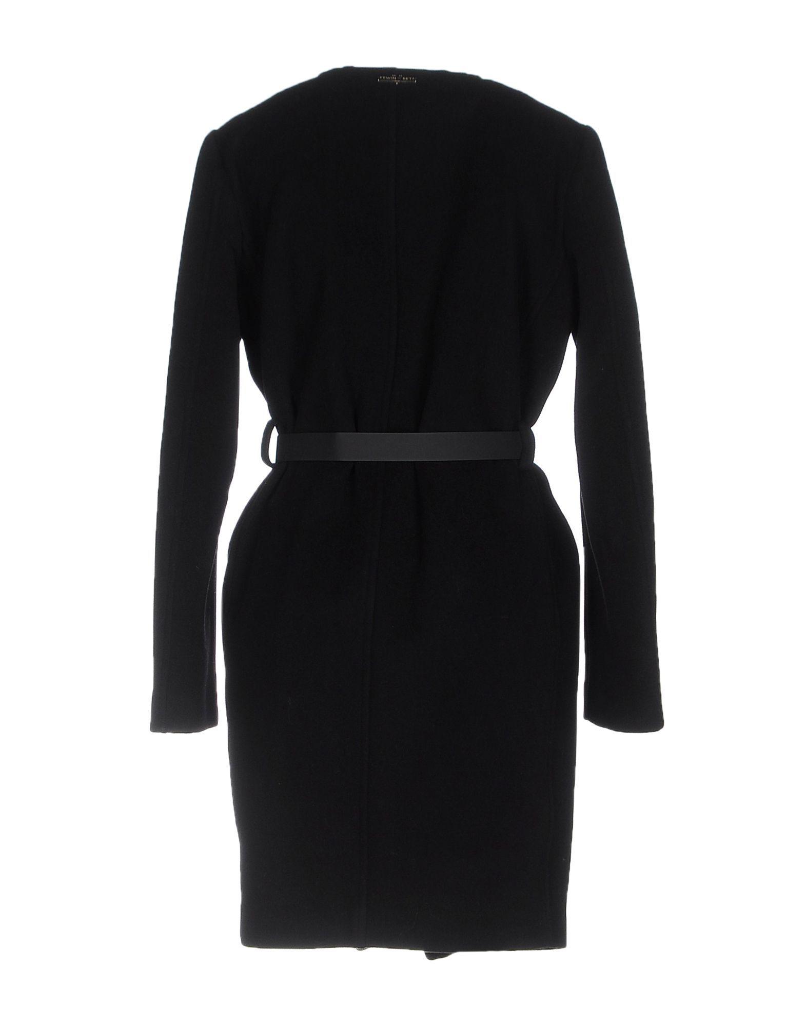 Twinset Black Virgin Wool Belted Coat