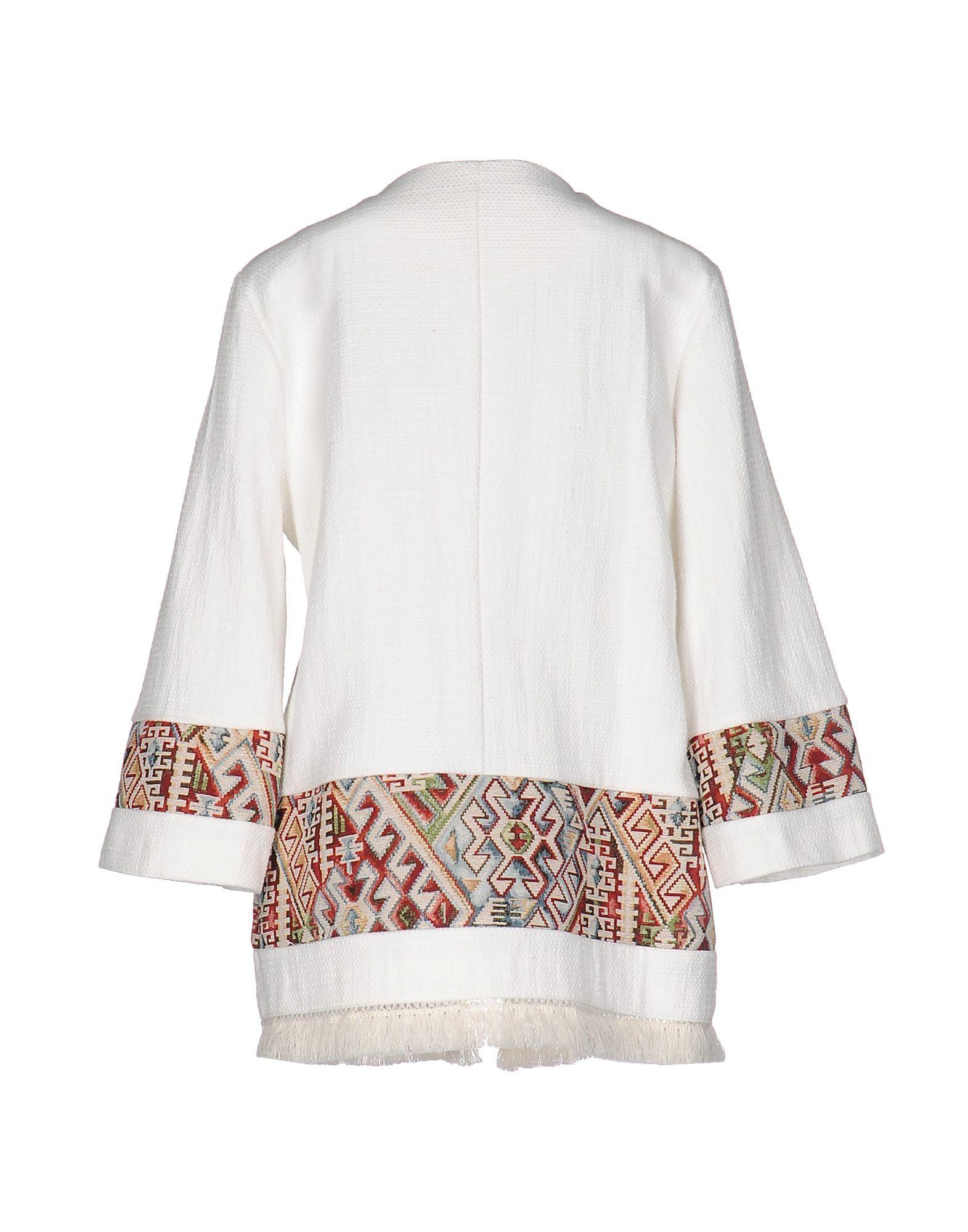 Twenty Easy By Kaos White Cotton Tweed Fringed Jacket