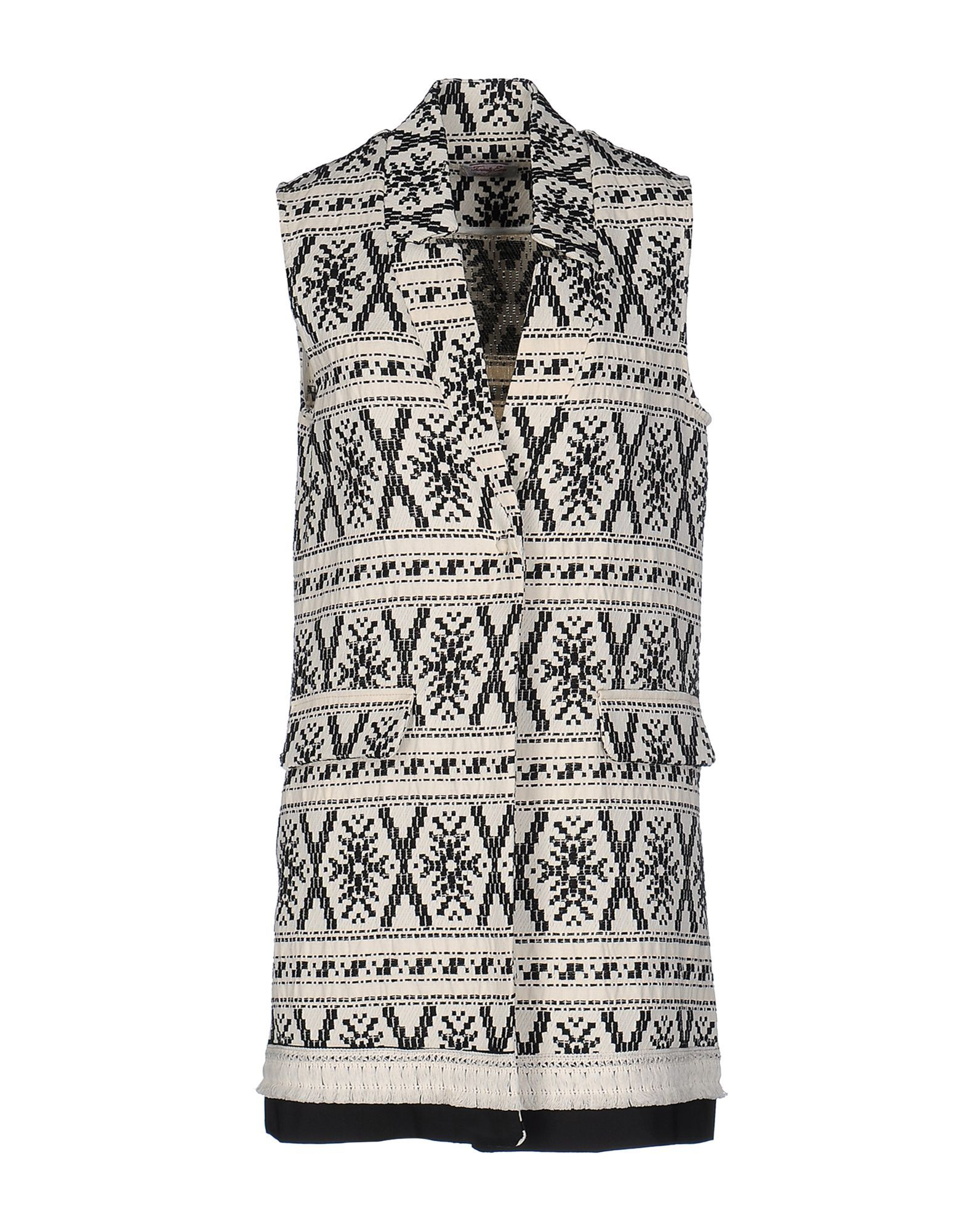 Twenty Easy By Kaos Ivory Jacquard Cotton Sleeveless Jacket