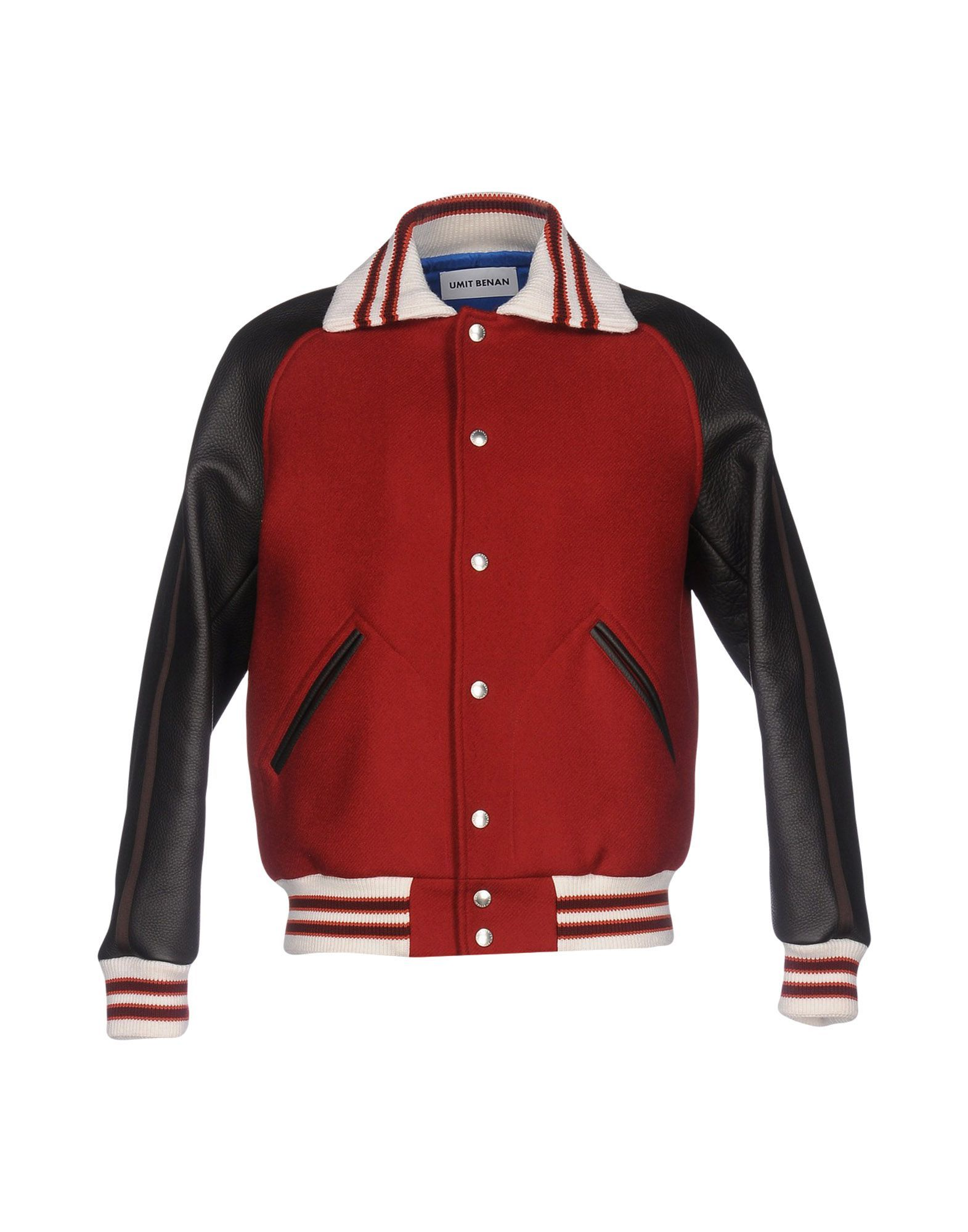 Umit Benan Brick Red Leather And Virgin Wool Bomber Jacket
