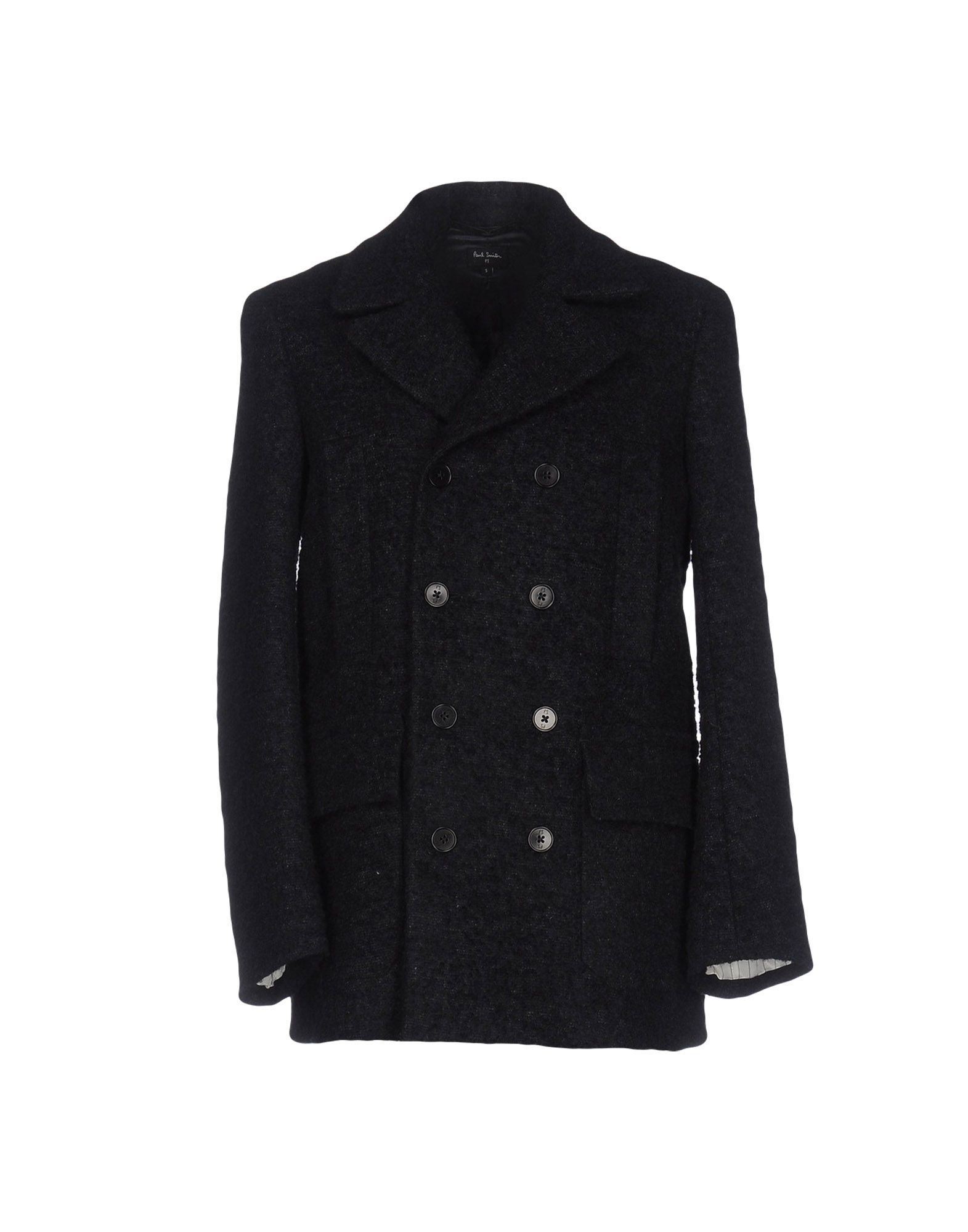 PS Paul Smith Dark Blue Boucle Wool Double Breasted Coat