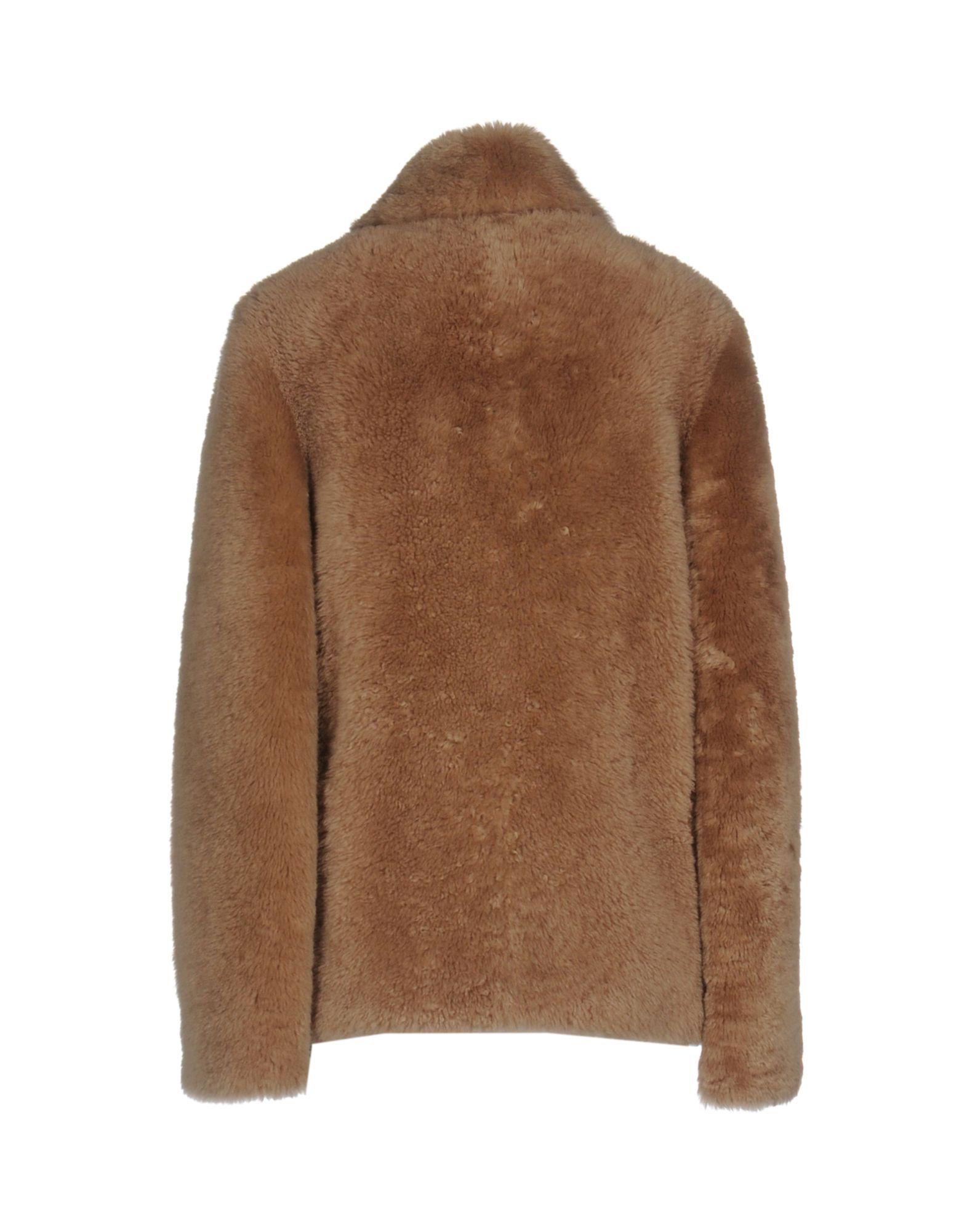 Balenciaga Camel Lambskin Leather Double Breasted Coat