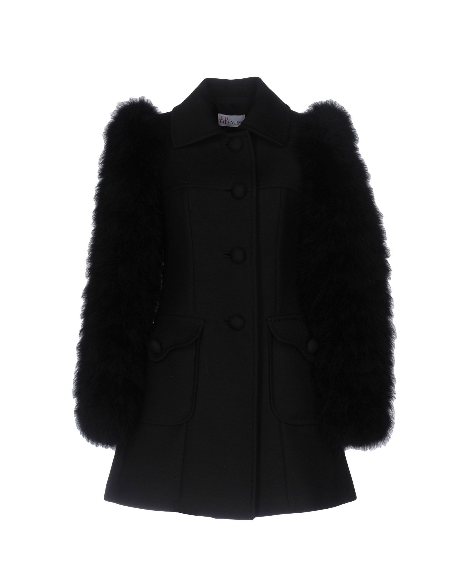 COATS & JACKETS Redvalentino Black Woman Virgin Wool